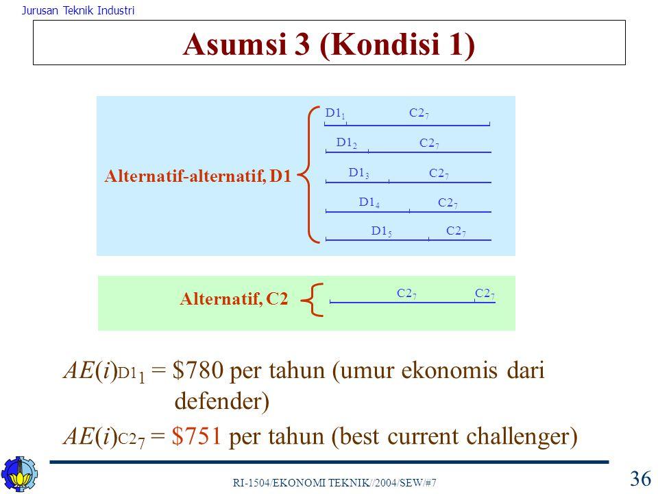 Asumsi 3 (Kondisi 1) D11. C27. D12. C27. Alternatif-alternatif, D1. D13. C27. D14. C27. D15.