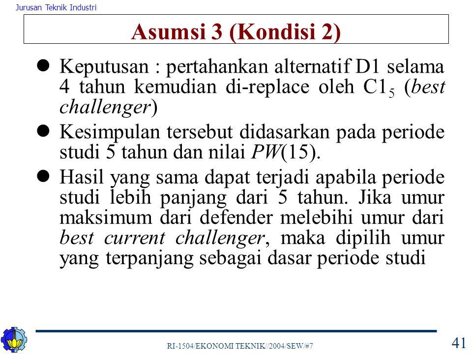 Asumsi 3 (Kondisi 2) Keputusan : pertahankan alternatif D1 selama 4 tahun kemudian di-replace oleh C15 (best challenger)