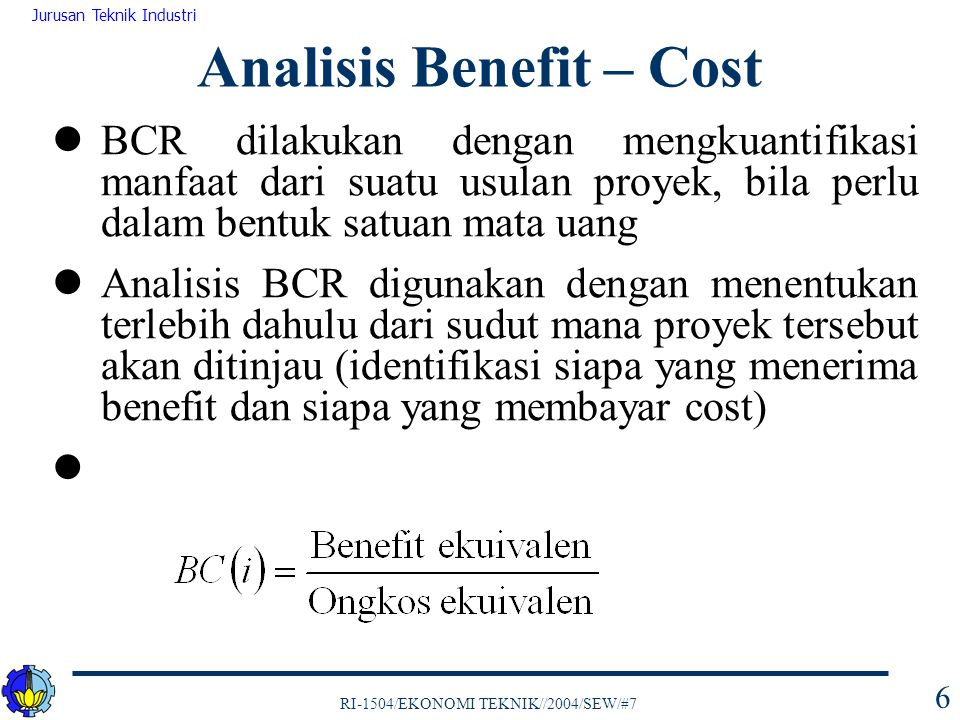 Analisis Benefit – Cost