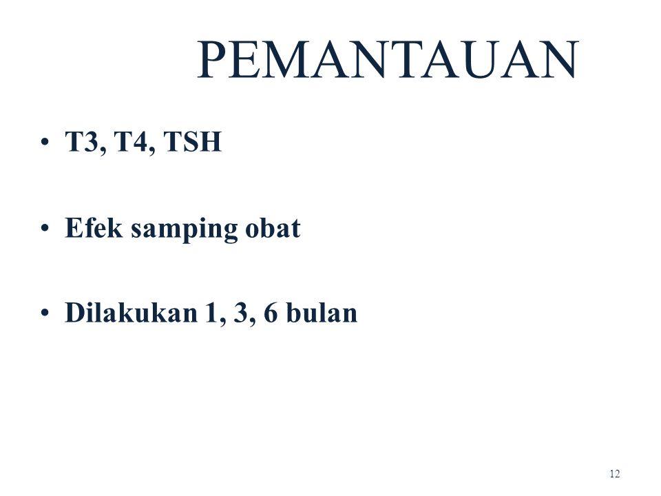 • T3, T4, TSH • Efek samping obat • Dilakukan 1, 3, 6 bulan PEMANTAUAN