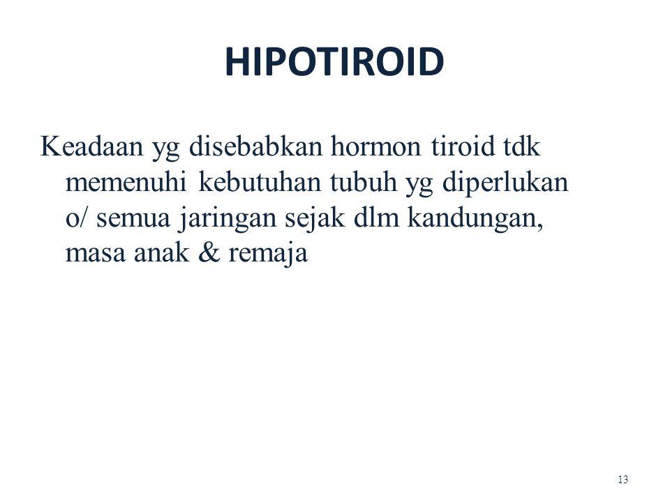 Keadaan yg disebabkan hormon tiroid tdk