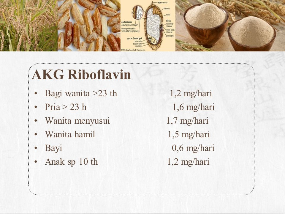 AKG Riboflavin Bagi wanita >23 th 1,2 mg/hari