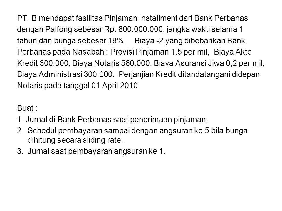 PT. B mendapat fasilitas Pinjaman Installment dari Bank Perbanas