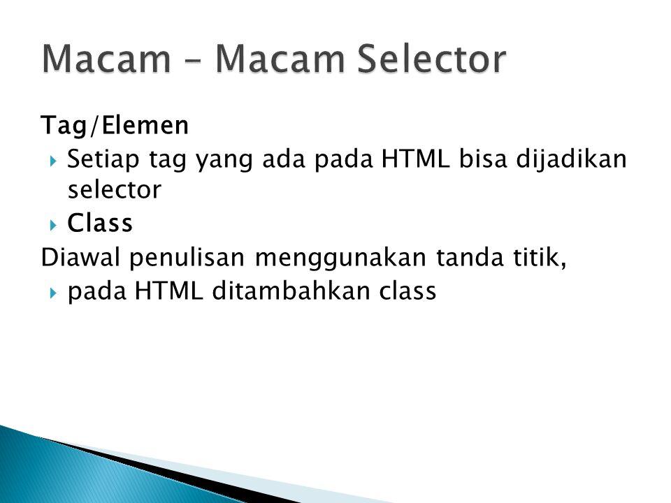 Macam – Macam Selector Tag/Elemen