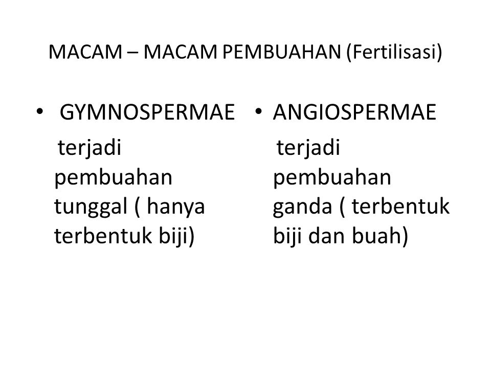 MACAM – MACAM PEMBUAHAN (Fertilisasi)