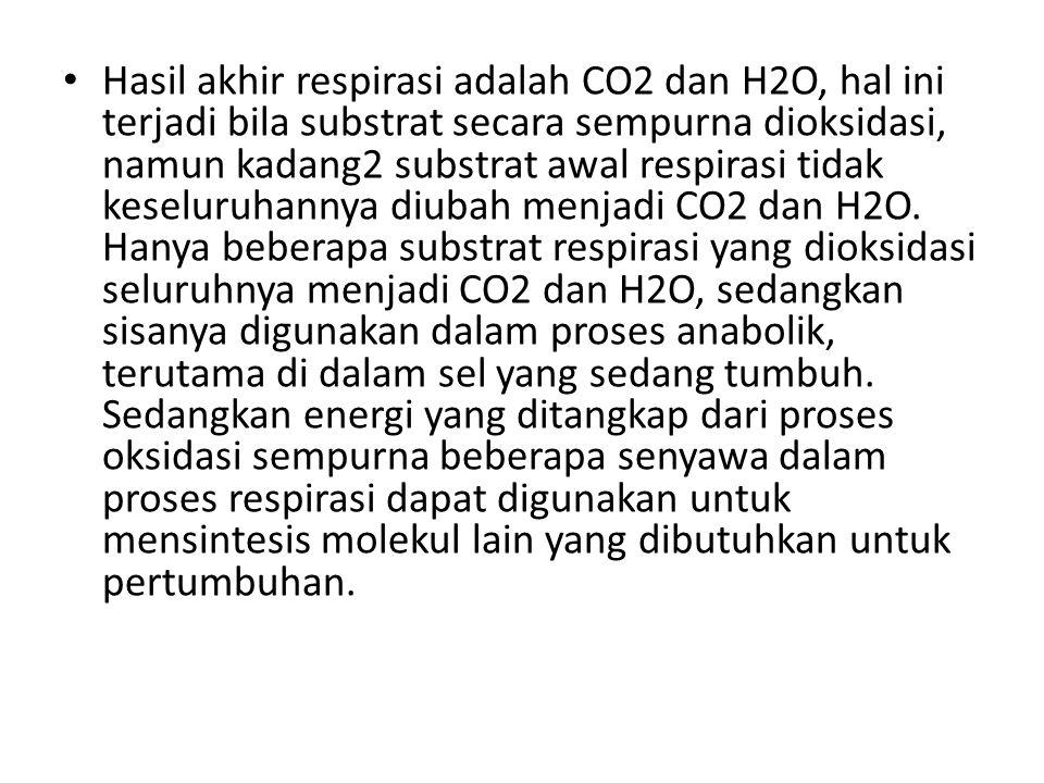 Hasil akhir respirasi adalah CO2 dan H2O, hal ini terjadi bila substrat secara sempurna dioksidasi, namun kadang2 substrat awal respirasi tidak keseluruhannya diubah menjadi CO2 dan H2O.