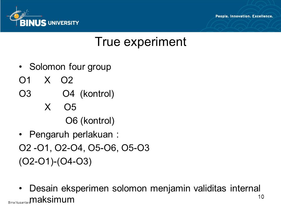 True experiment Solomon four group O1 X O2 O3 O4 (kontrol) X O5