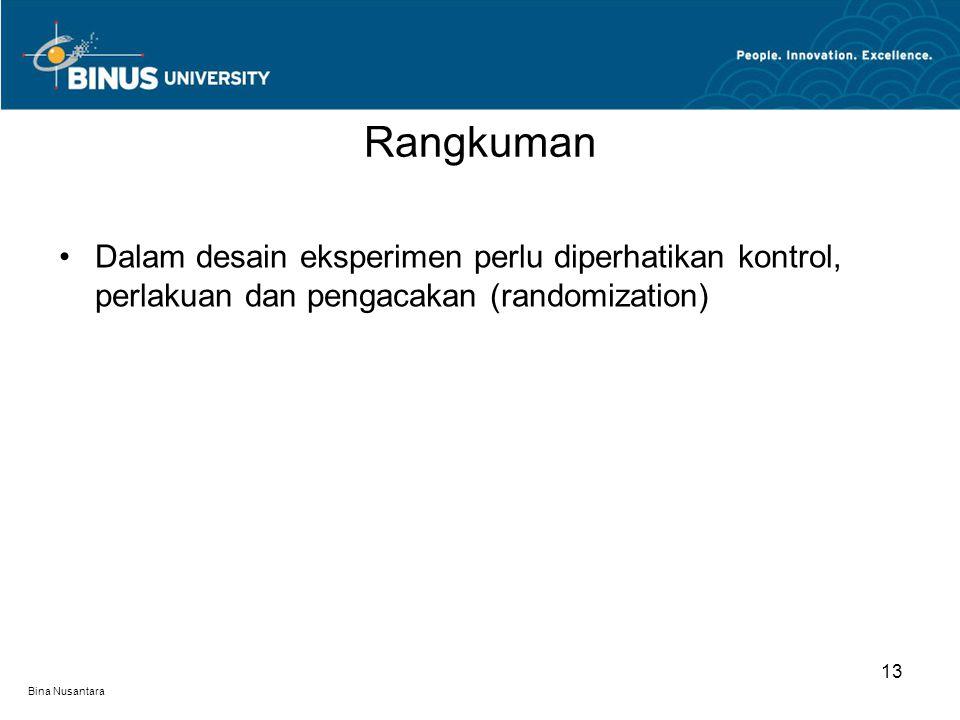 Rangkuman Dalam desain eksperimen perlu diperhatikan kontrol, perlakuan dan pengacakan (randomization)