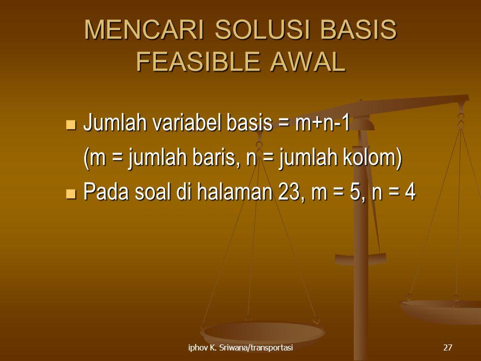 MENCARI SOLUSI BASIS FEASIBLE AWAL