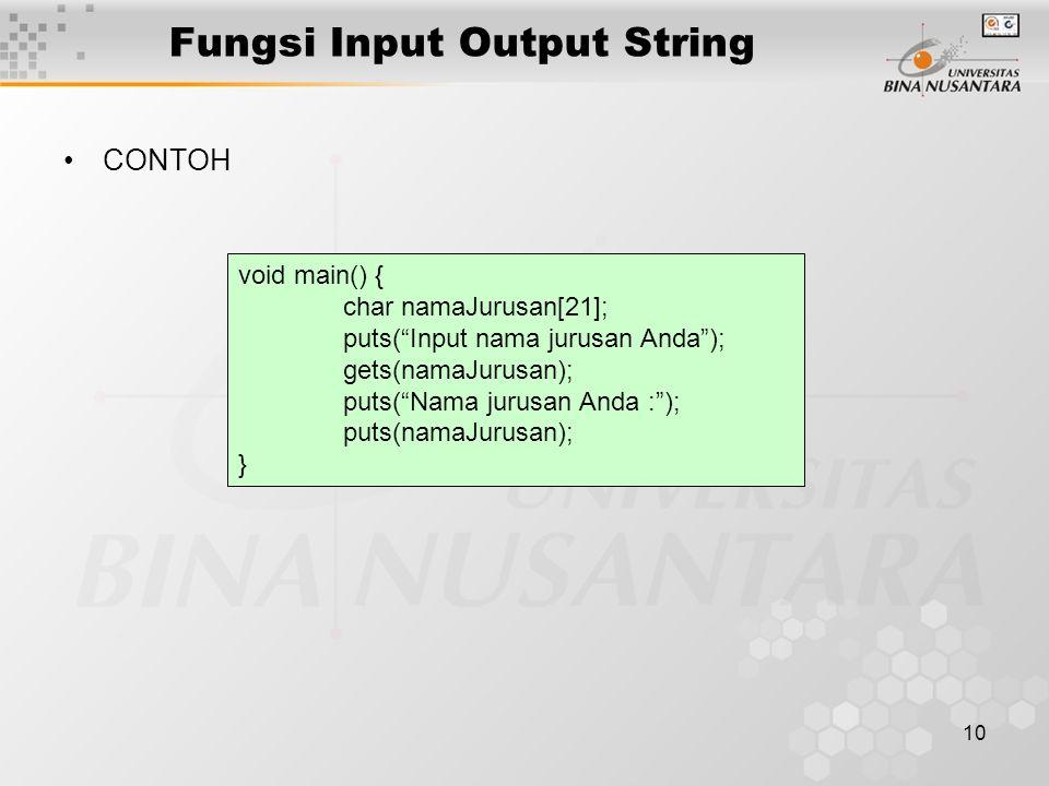 Fungsi Input Output String