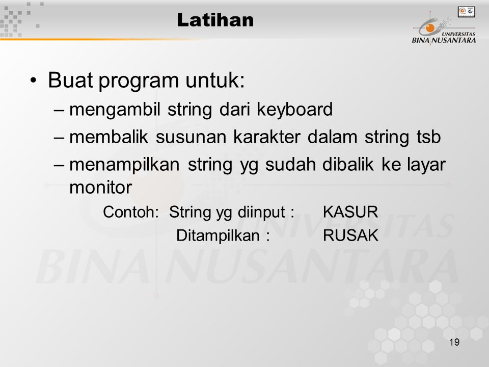Buat program untuk: Latihan mengambil string dari keyboard
