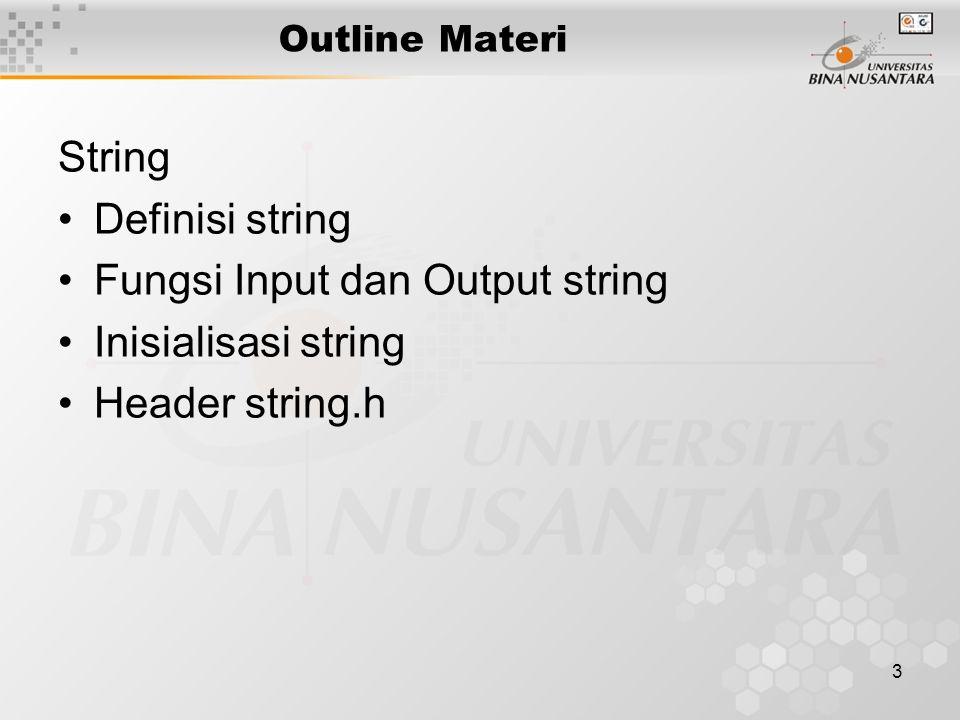 Fungsi Input dan Output string Inisialisasi string Header string.h
