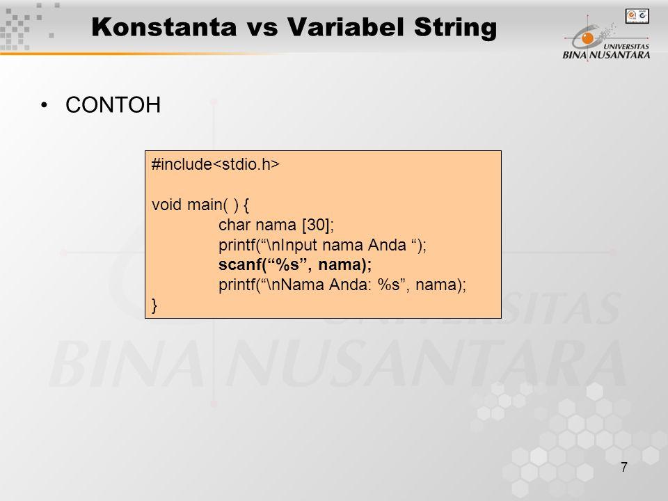 Konstanta vs Variabel String