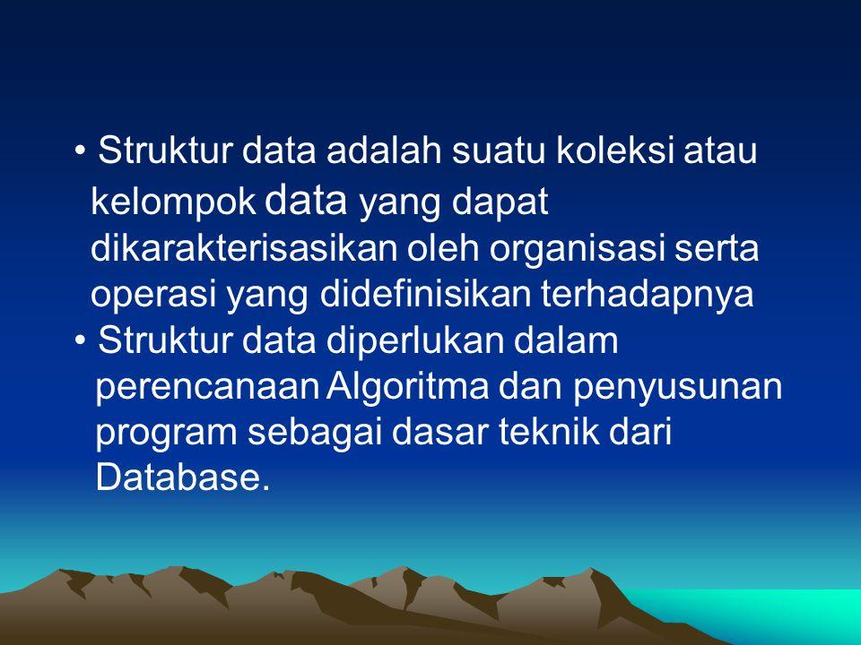 • Struktur data adalah suatu koleksi atau kelompok data yang dapat dikarakterisasikan oleh organisasi serta operasi yang didefinisikan terhadapnya