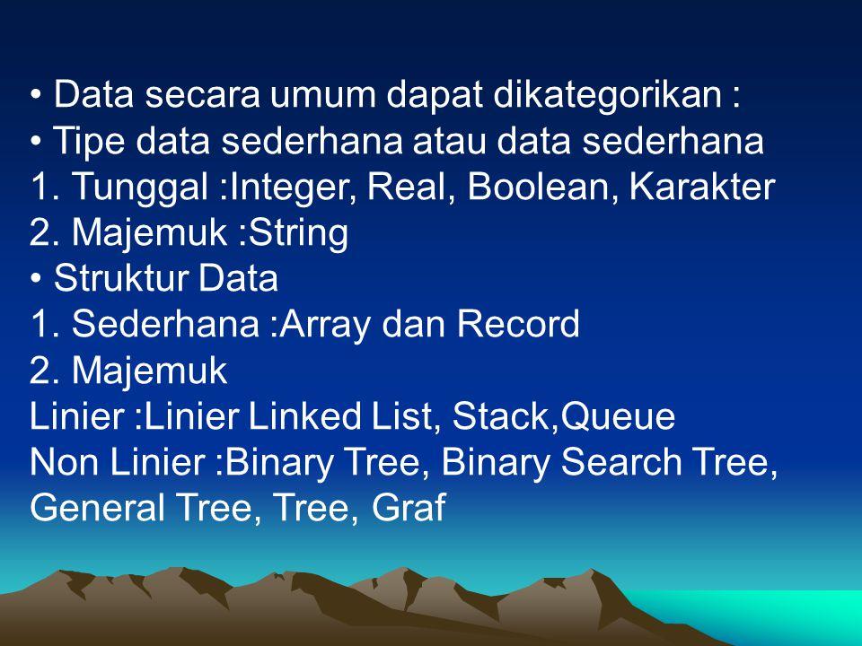 • Data secara umum dapat dikategorikan :
