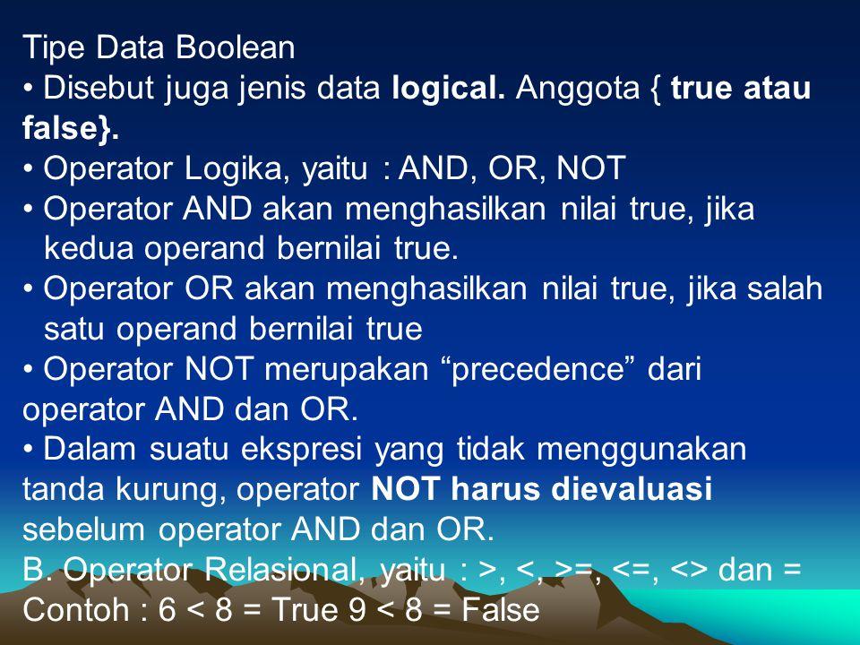 Tipe Data Boolean • Disebut juga jenis data logical. Anggota { true atau false}. • Operator Logika, yaitu : AND, OR, NOT.