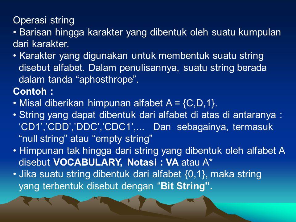 Operasi string • Barisan hingga karakter yang dibentuk oleh suatu kumpulan dari karakter.