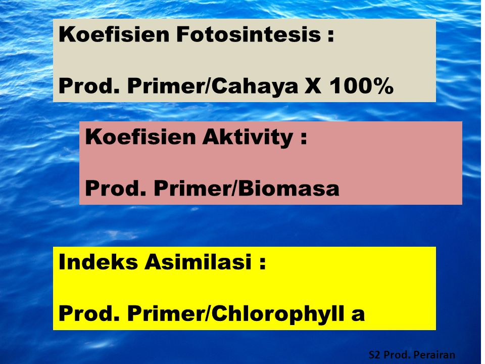 Koefisien Fotosintesis : Prod. Primer/Cahaya X 100%
