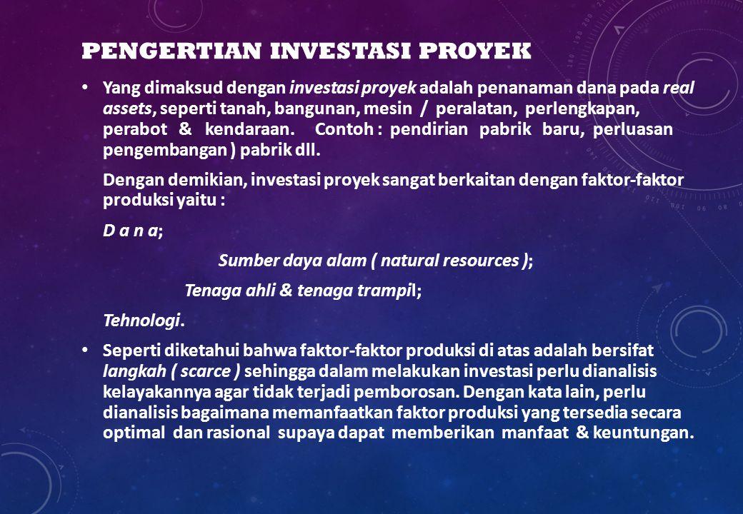 PENGERTIAN INVESTASI PROYEK