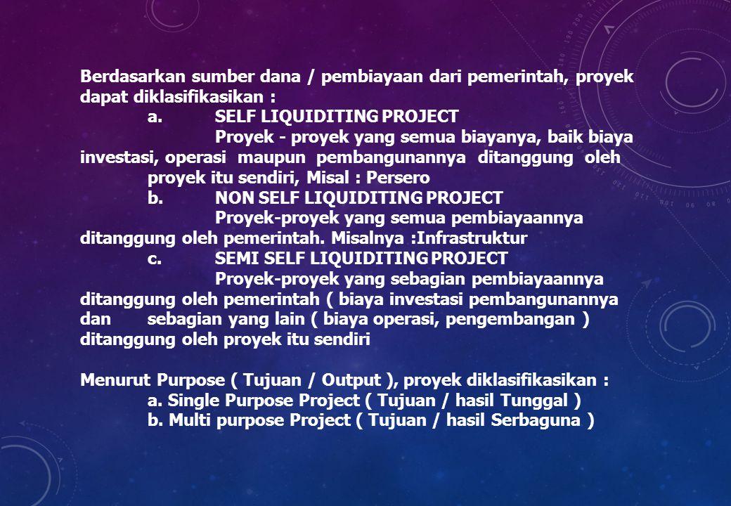 Berdasarkan sumber dana / pembiayaan dari pemerintah, proyek dapat diklasifikasikan :