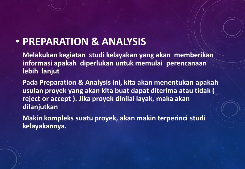 PREPARATION & ANALYSIS