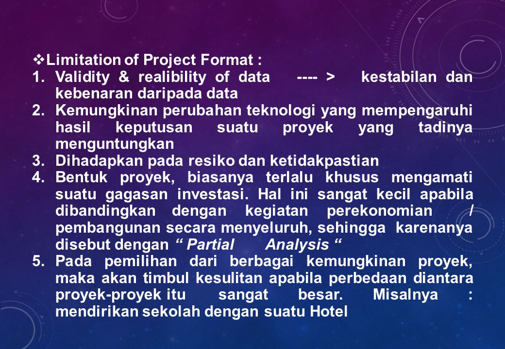Limitation of Project Format :