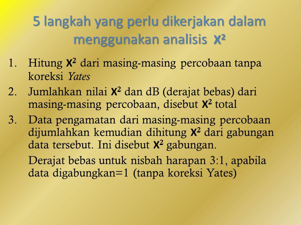 5 langkah yang perlu dikerjakan dalam menggunakan analisis Χ2