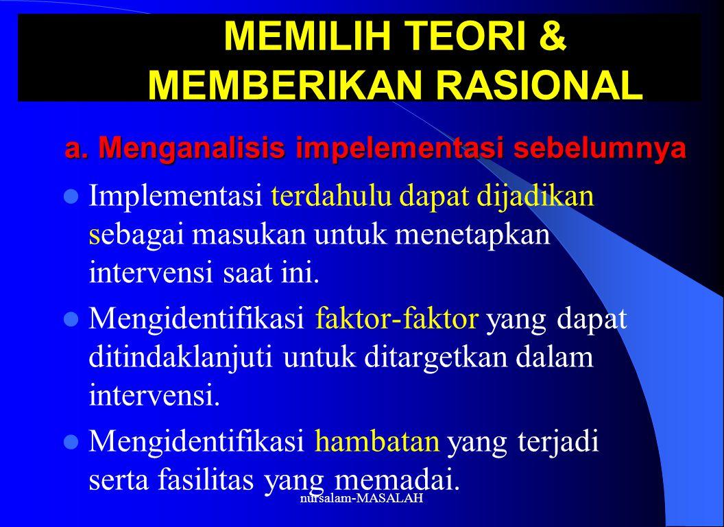 MEMILIH TEORI & MEMBERIKAN RASIONAL