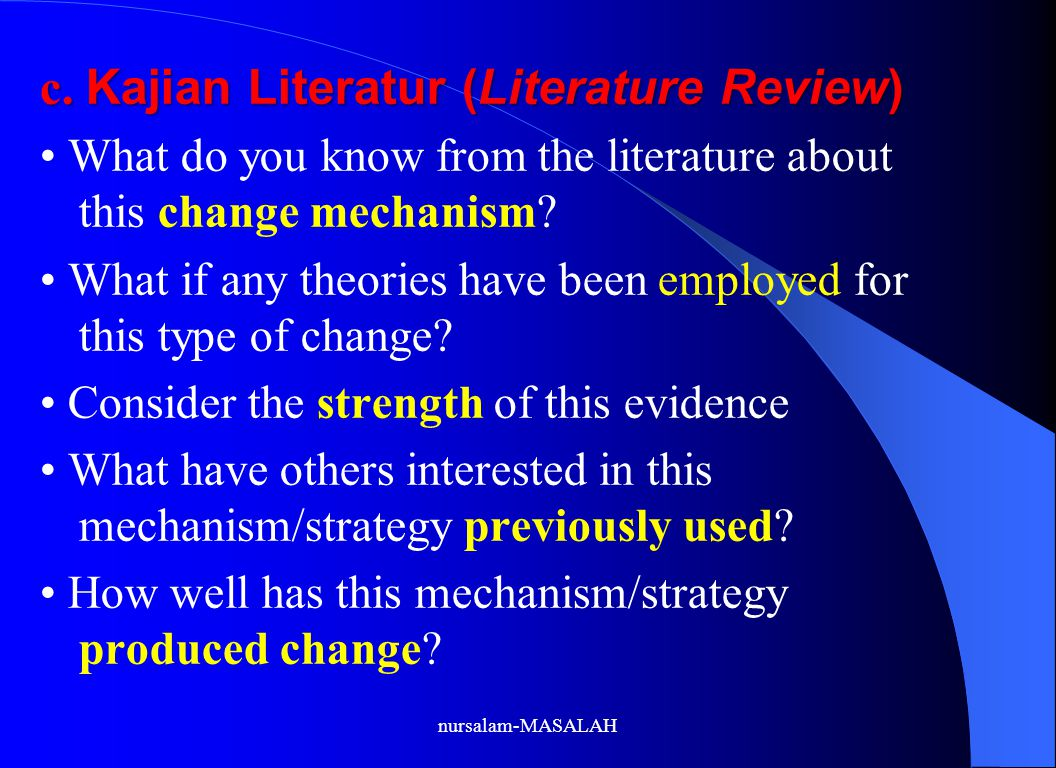 c. Kajian Literatur (Literature Review)