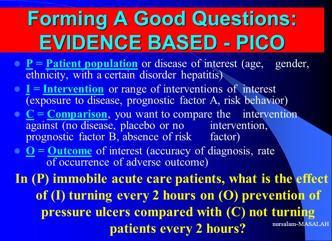 Forming A Good Questions: EVIDENCE BASED - PICO