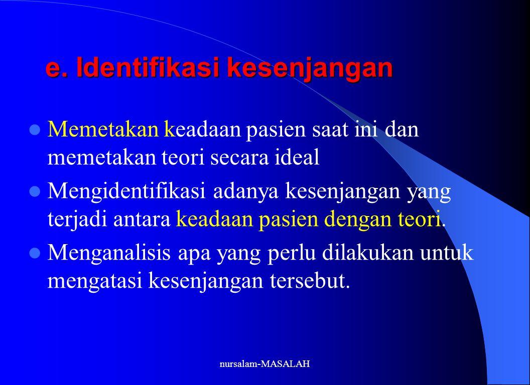 e. Identifikasi kesenjangan