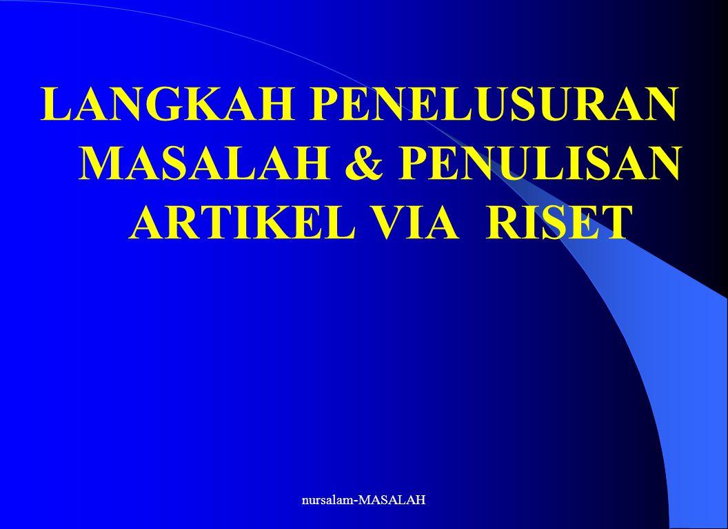 LANGKAH PENELUSURAN MASALAH & PENULISAN ARTIKEL VIA RISET