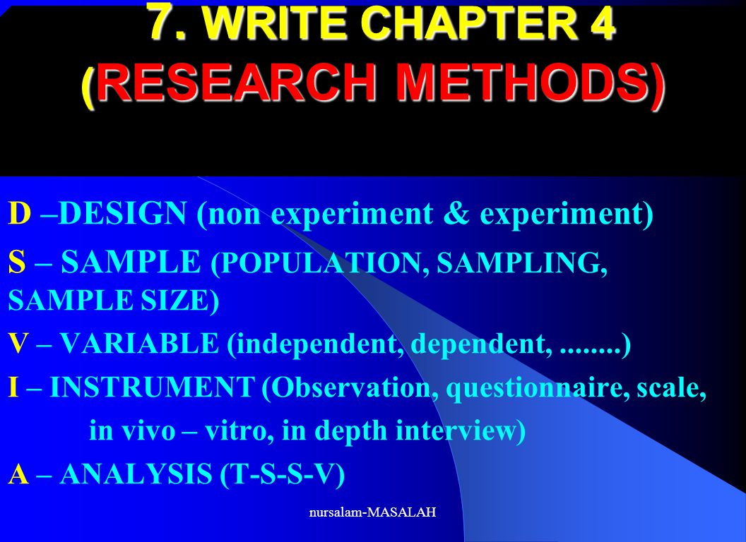 7. WRITE CHAPTER 4 (RESEARCH METHODS)