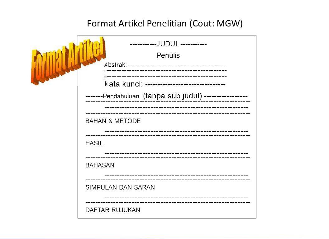 Format Artikel Penelitian (Cout: MGW)