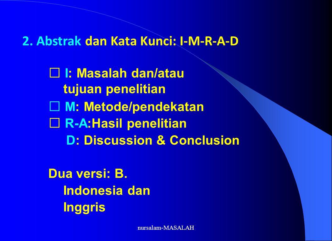 2. Abstrak dan Kata Kunci: I-M-R-A-D