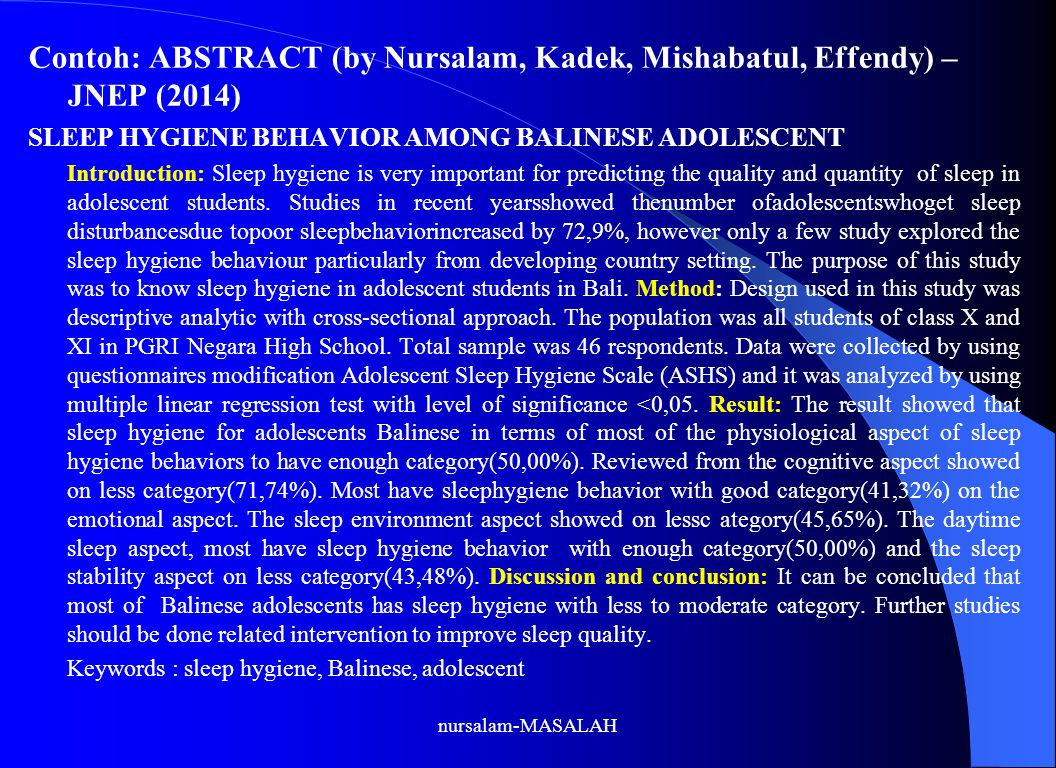 Contoh: ABSTRACT (by Nursalam, Kadek, Mishabatul, Effendy) – JNEP (2014)