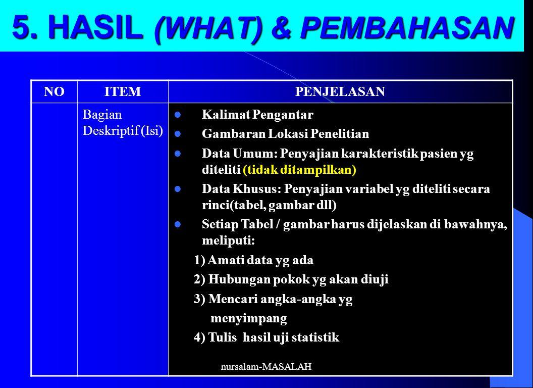 5. HASIL (WHAT) & PEMBAHASAN