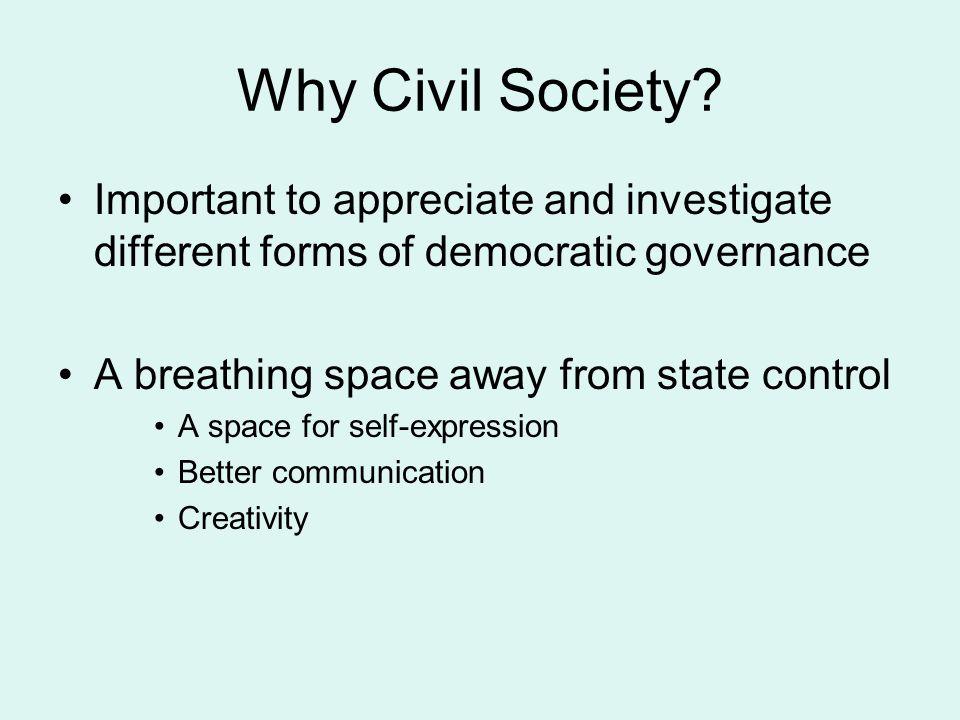 Why Civil Society Important to appreciate and investigate different forms of democratic governance.
