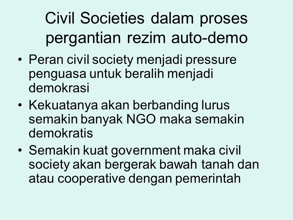 Civil Societies dalam proses pergantian rezim auto-demo