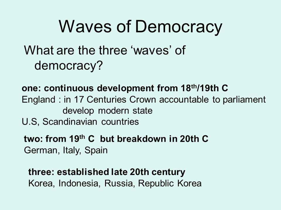 Waves of Democracy What are the three 'waves' of democracy
