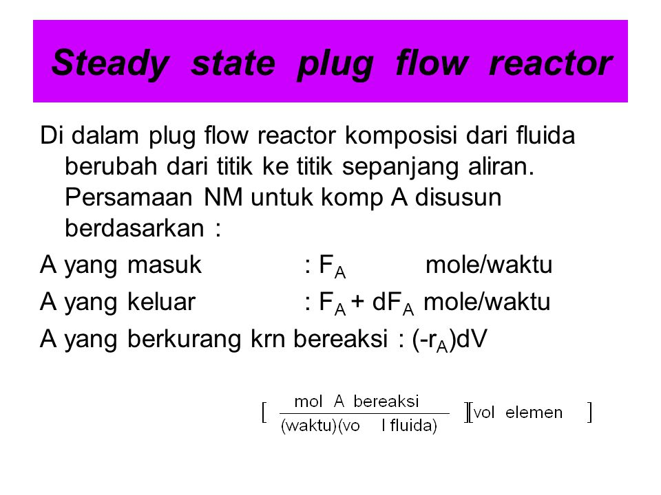Steady state plug flow reactor