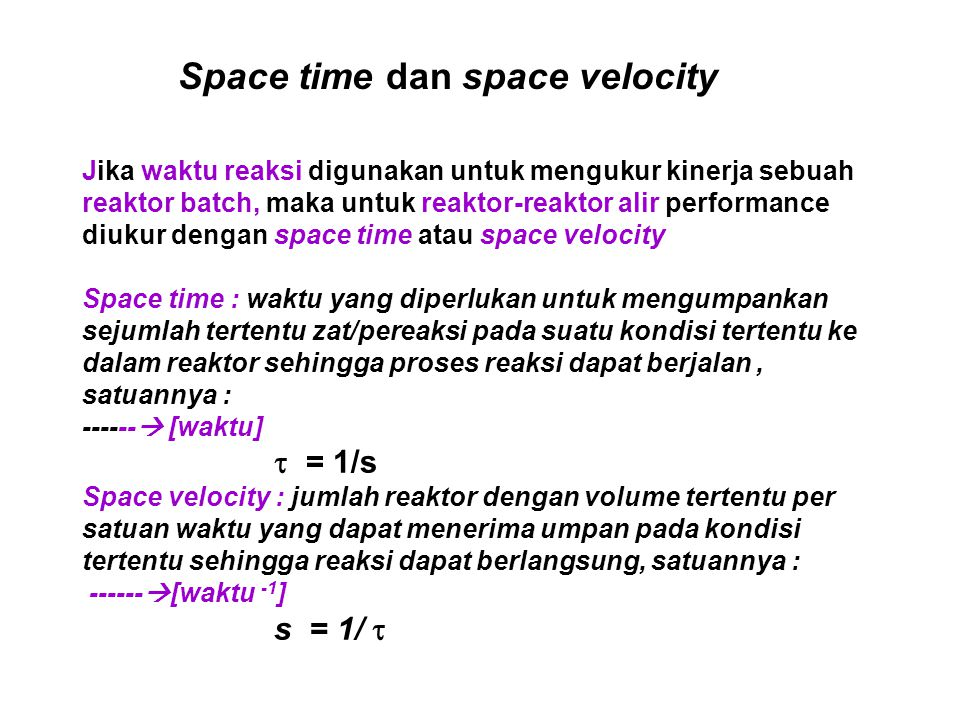 Space time dan space velocity