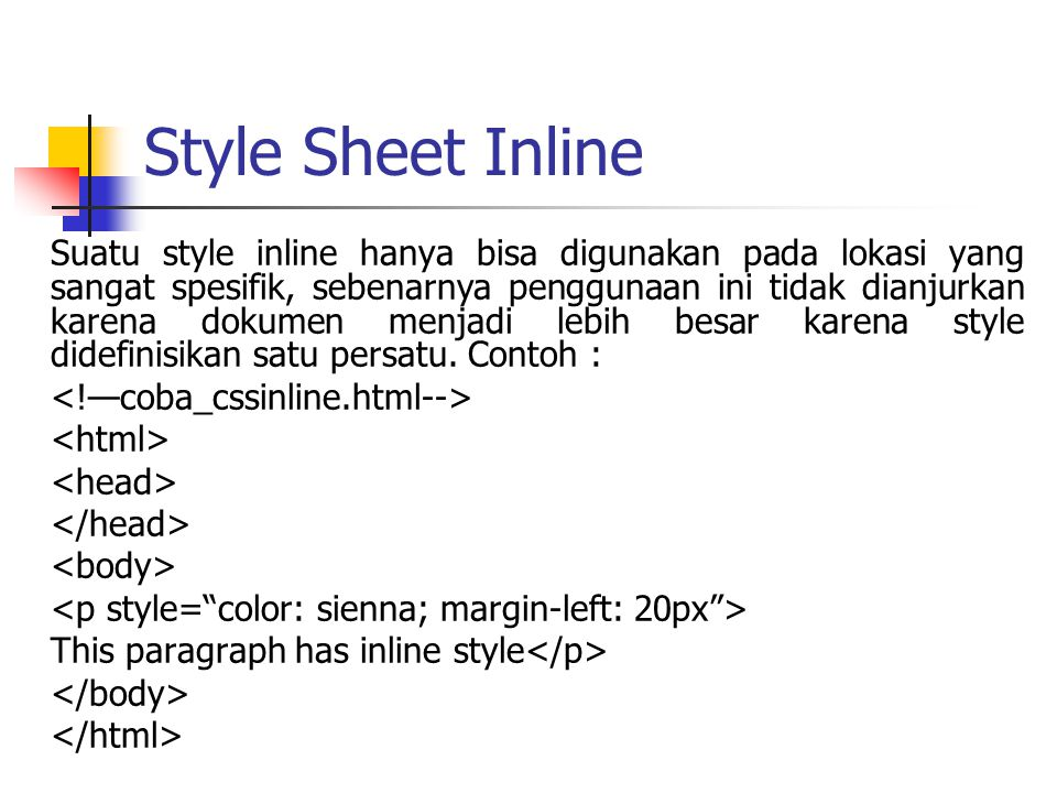 Style Sheet Inline