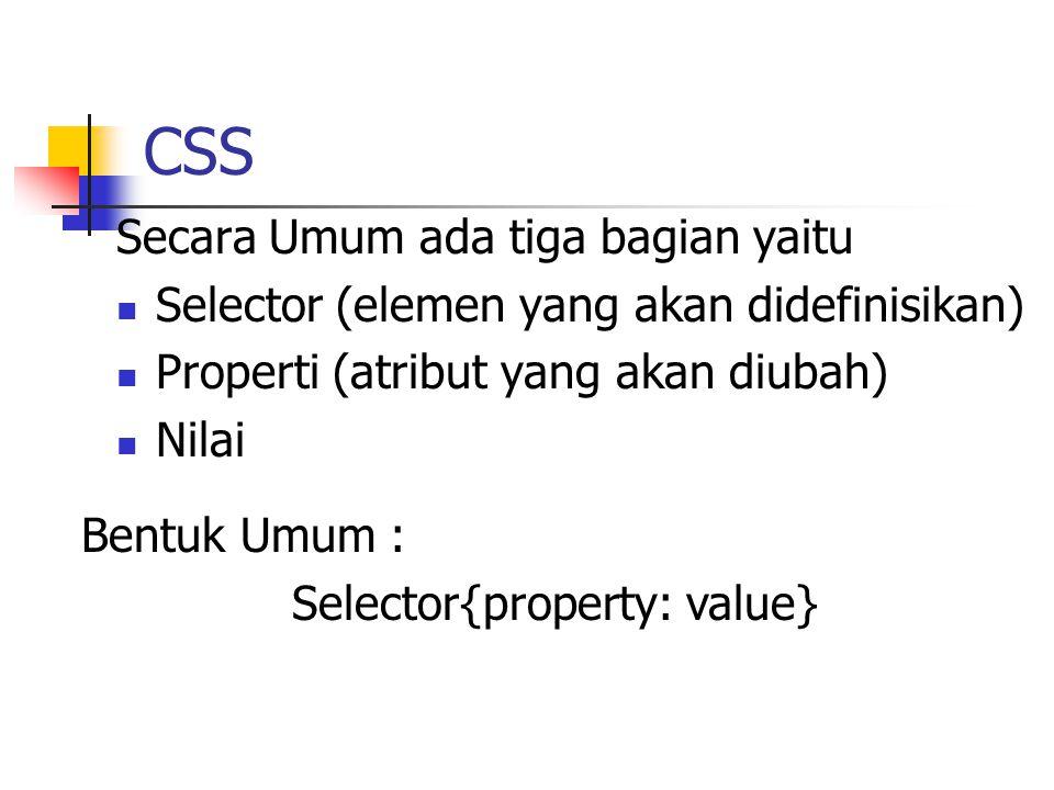 CSS Secara Umum ada tiga bagian yaitu