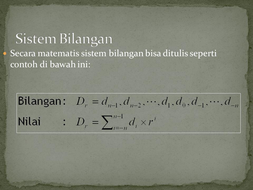 Sistem Bilangan Secara matematis sistem bilangan bisa ditulis seperti contoh di bawah ini: