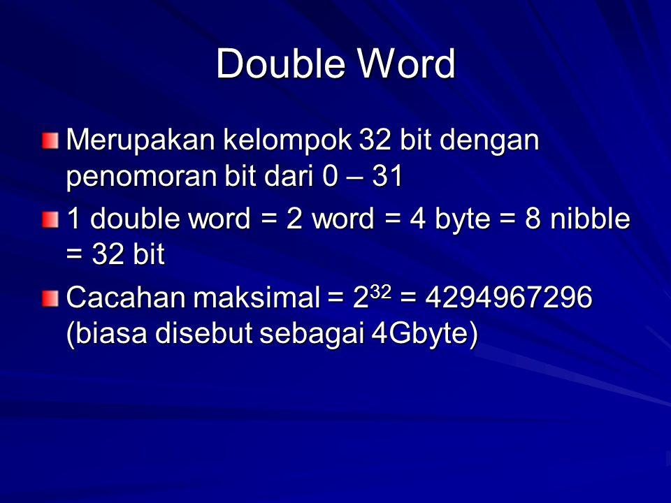 Double Word Merupakan kelompok 32 bit dengan penomoran bit dari 0 – 31