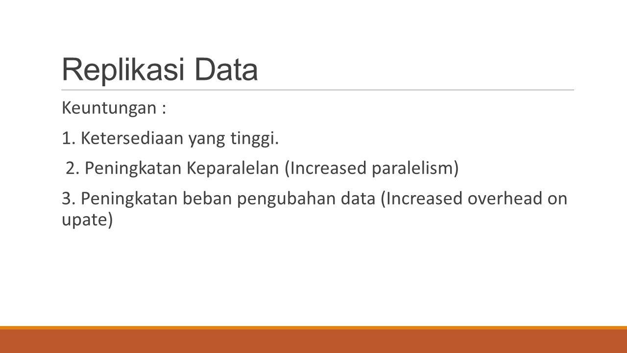 Replikasi Data Keuntungan : 1. Ketersediaan yang tinggi.