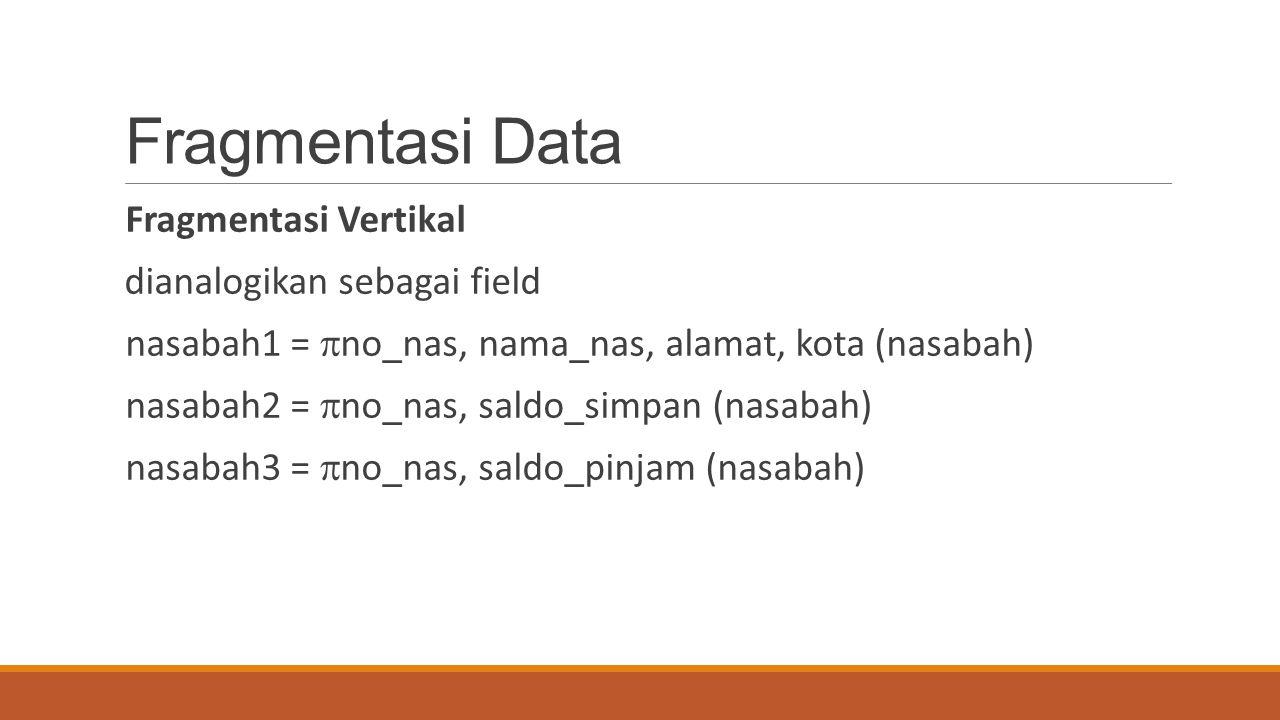 Fragmentasi Data Fragmentasi Vertikal dianalogikan sebagai field
