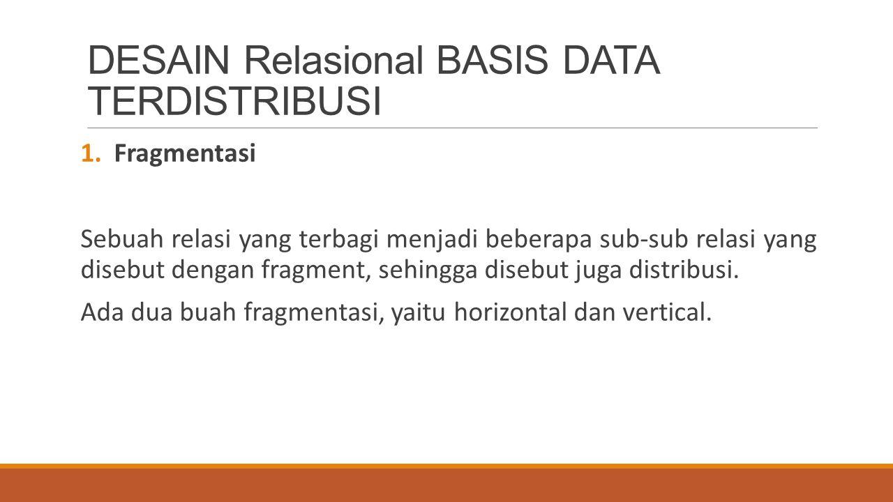 DESAIN Relasional BASIS DATA TERDISTRIBUSI