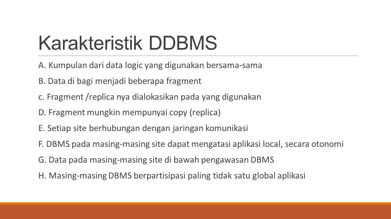 Karakteristik DDBMS A. Kumpulan dari data logic yang digunakan bersama-sama. B. Data di bagi menjadi beberapa fragment.